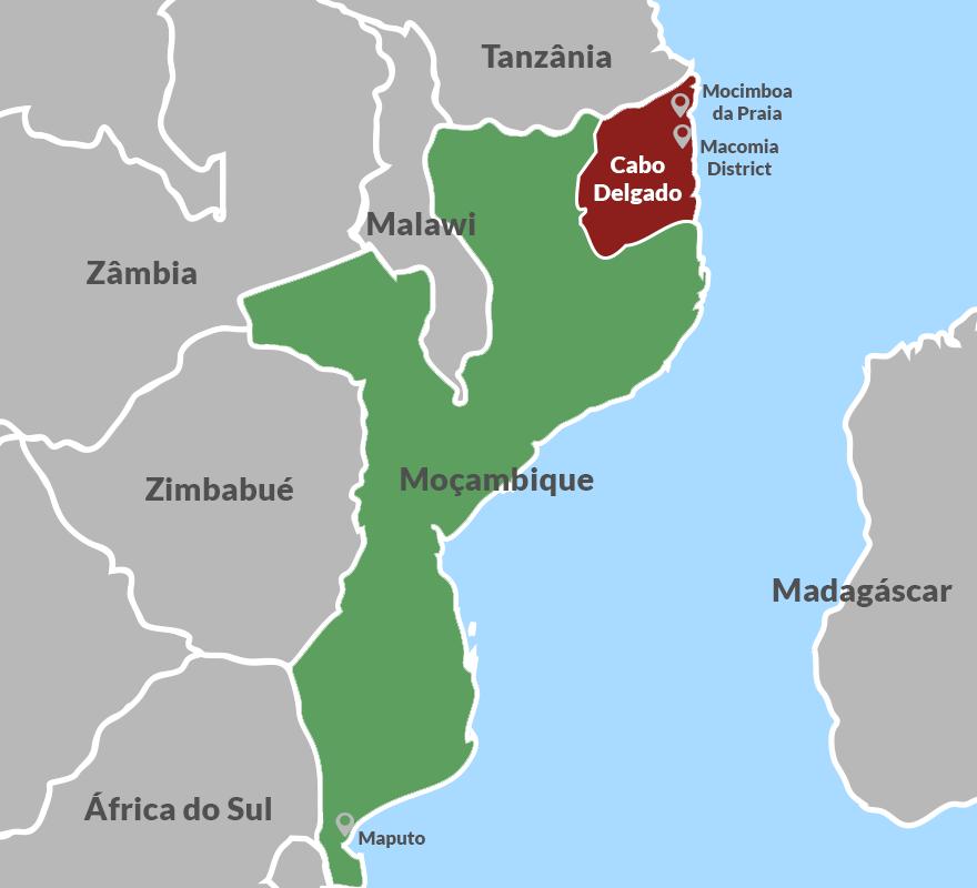 Província de Cabo Delgado em Moçambique