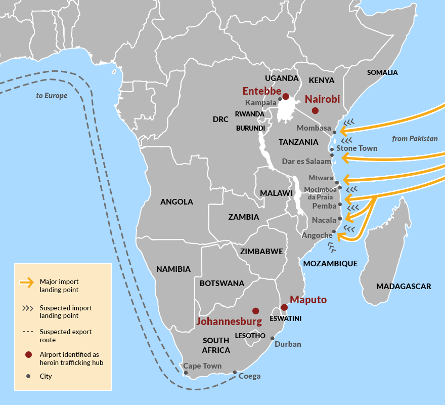Overview of heroin trafficking on Africa's east coast