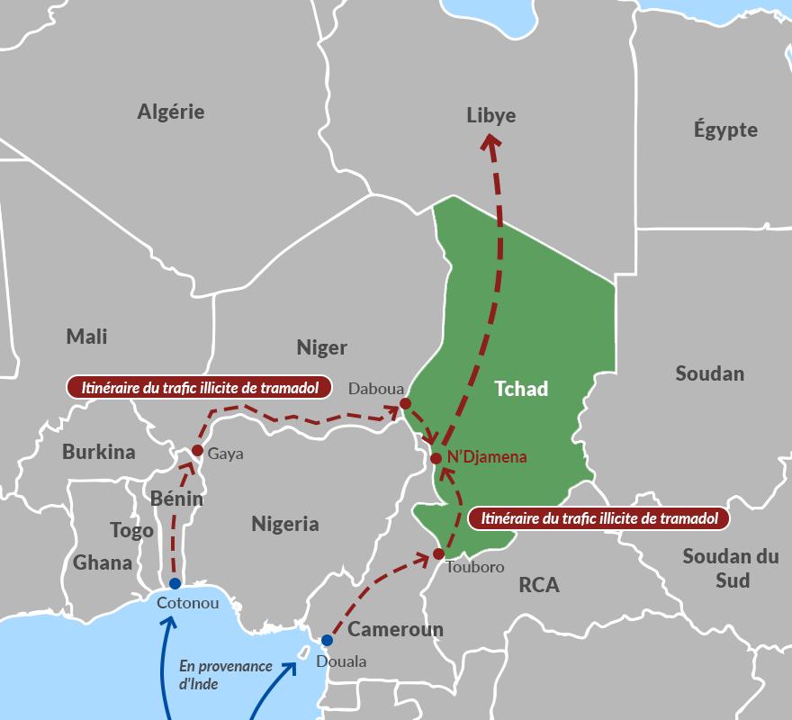 Itinéraire du trafic illicite de tramadol