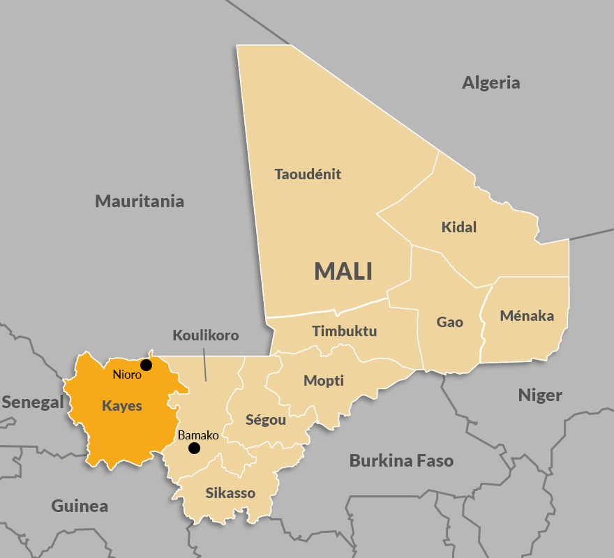 Map of the Kayes region in Mali