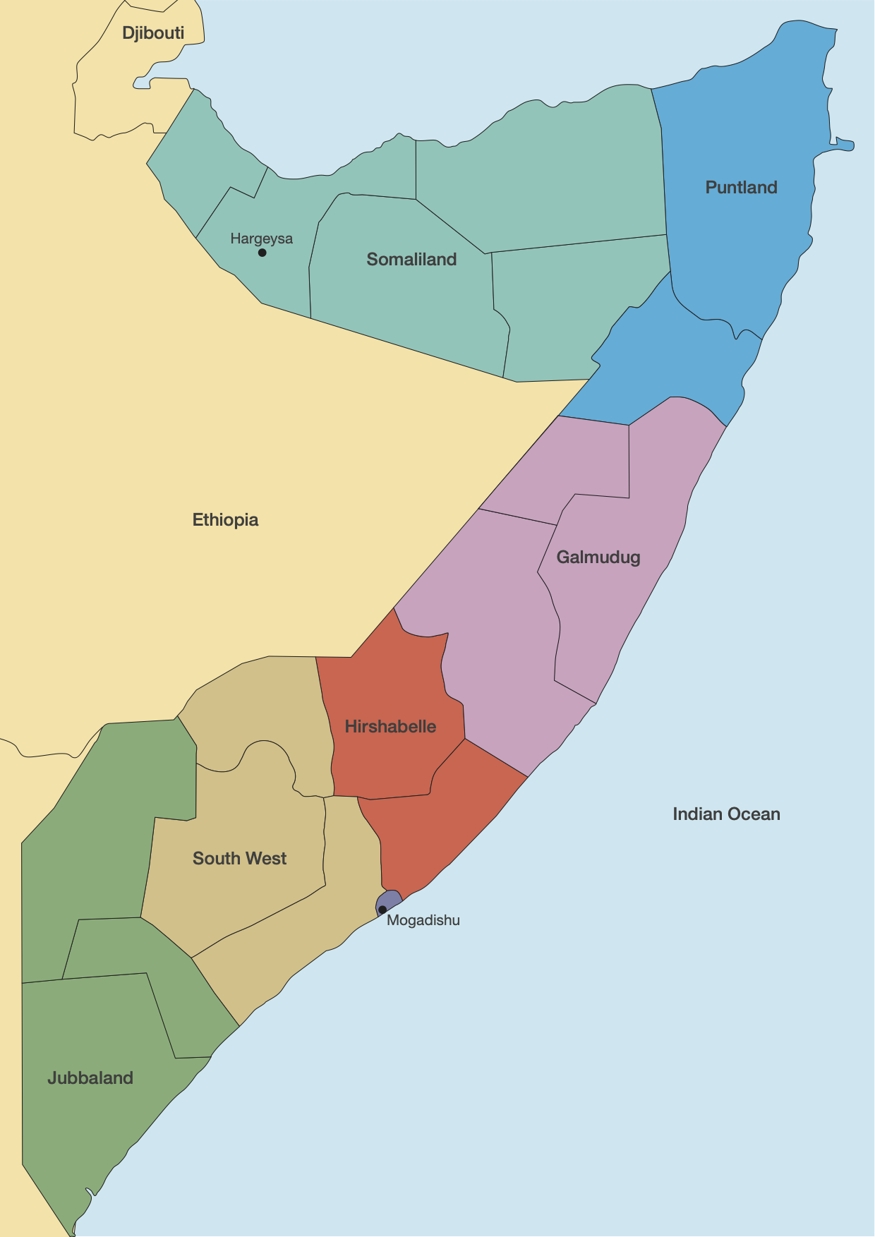 Somalia and its five federal states