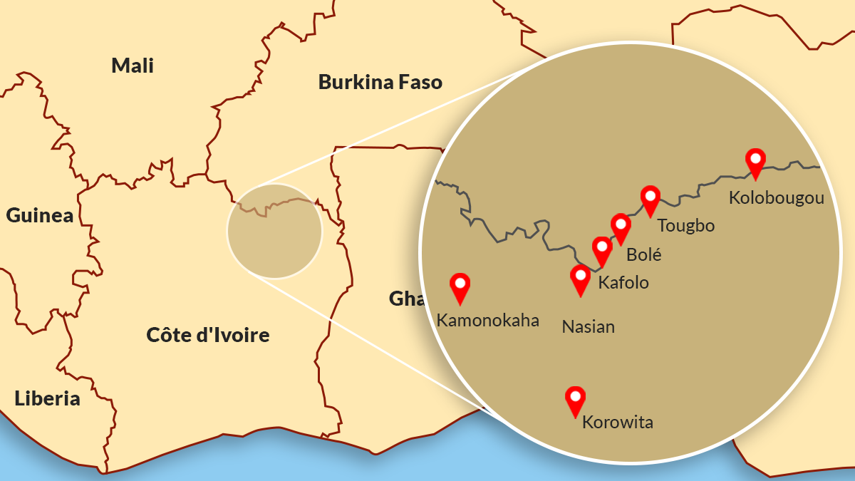 Location of incidents in Côte d'Ivoire attributed to violent extremist groups