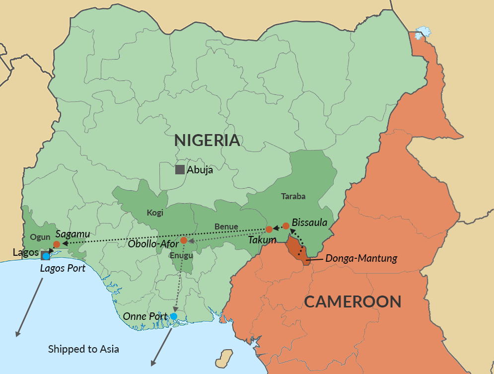 Illegal logging routes from Cameroon through Nigeria